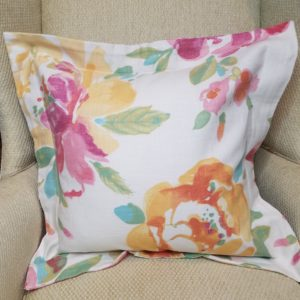 Watercolor Floral Pillow with Flange