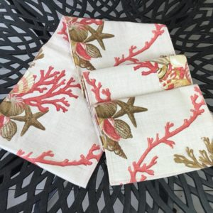 Oatmeal & Coral Shell Table Runner