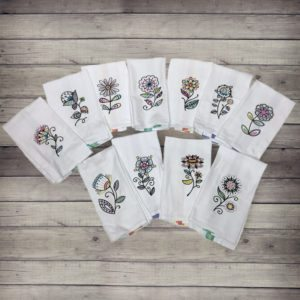 Blooming Blackwork Floral Dish/Hand Towels Collection
