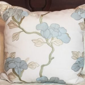 Aqua and Grey Watercolor Pillow