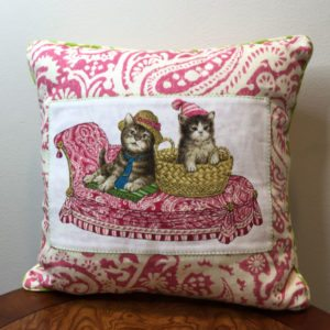 Pink Paisley Cat's Life Pillow