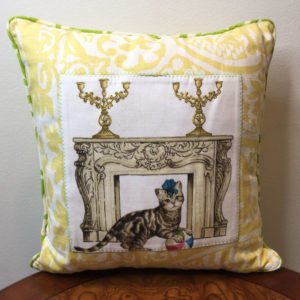 Yellow Aztec Cat's Life Pillow