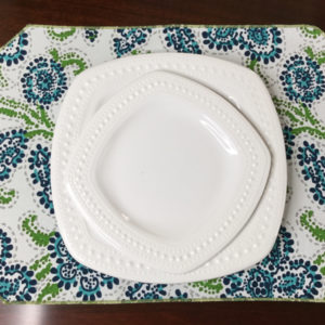 Navy, Turquoise, & Olive Paisley Placemat