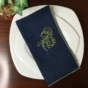 Navy & Olive Flourish Linen Napkins