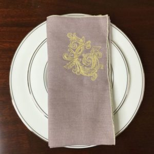 Light Lavender & Yellow Flourish Linen Napkins