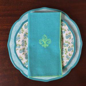 Turquoise & Lime Flur de Lis Linen Napkins