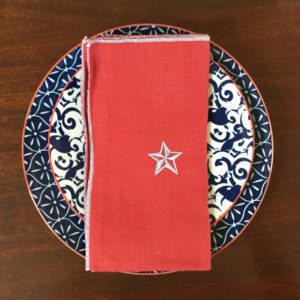 Red & Denim Linen Napkins