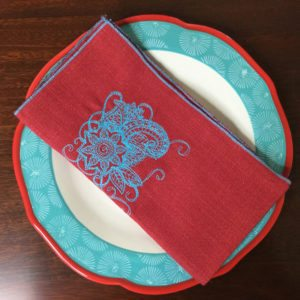 Red & Turquoise Linen Napkins
