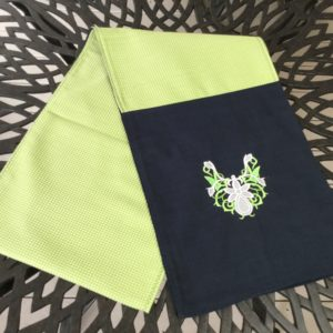 Lime Green & Navy Floral Table Runner
