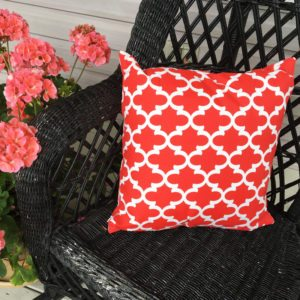 Red And White Trellis Pattern (indoor/Outdoor) Pillow