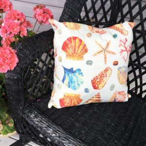 Coral & Blue Shell (indoor/Outdoor) Pillow