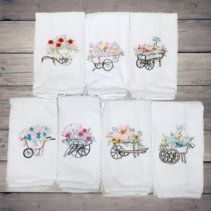 Flower Cart Frolics Dish/Hand Towels Collection