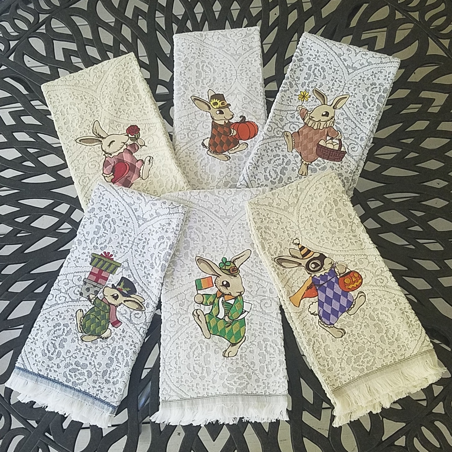 Embroidered Terry Cloth Hand Towels: Vintage Bunny Linen Hand/Guest Towels Collection