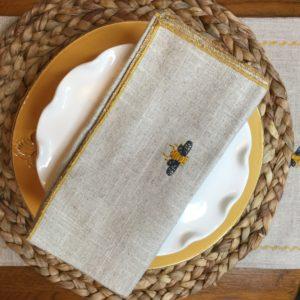Oatmeal Linen Bee Napkin