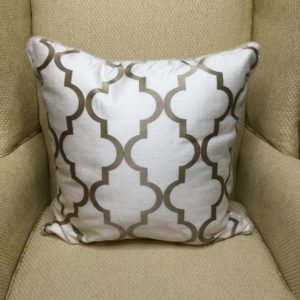 White with Tan Geometric Pattern Pillow