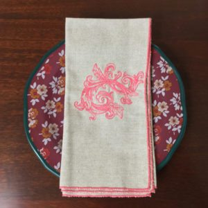 Oatmeal with Coral Baroque Flourish Linen Napkins